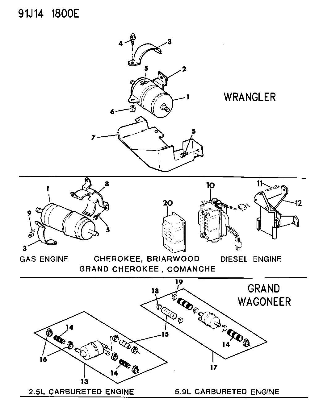Jeep Wagoneer Fuel Filter Diagram Control Wiring 2000 Wrangler Location Filters Cherokee Briarwood Grand 1999