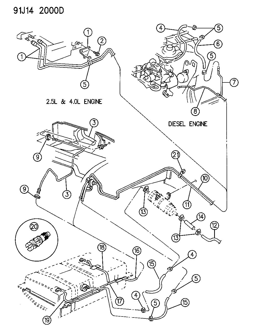 service manual  how to unblock fuel line inside 1992 jeep