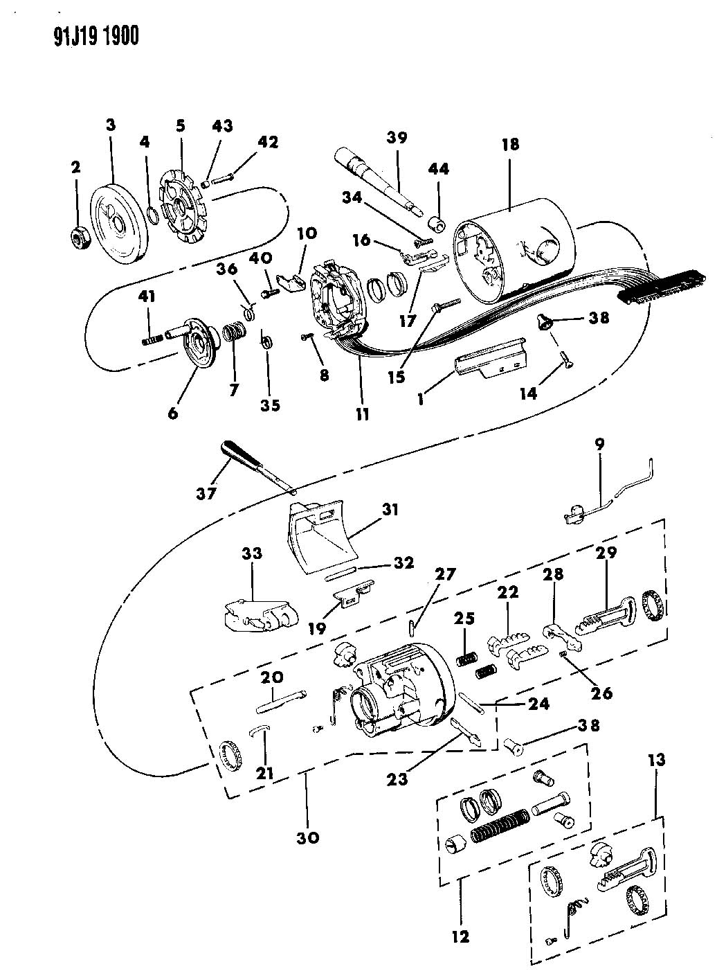 jeep comanche steering column diagram