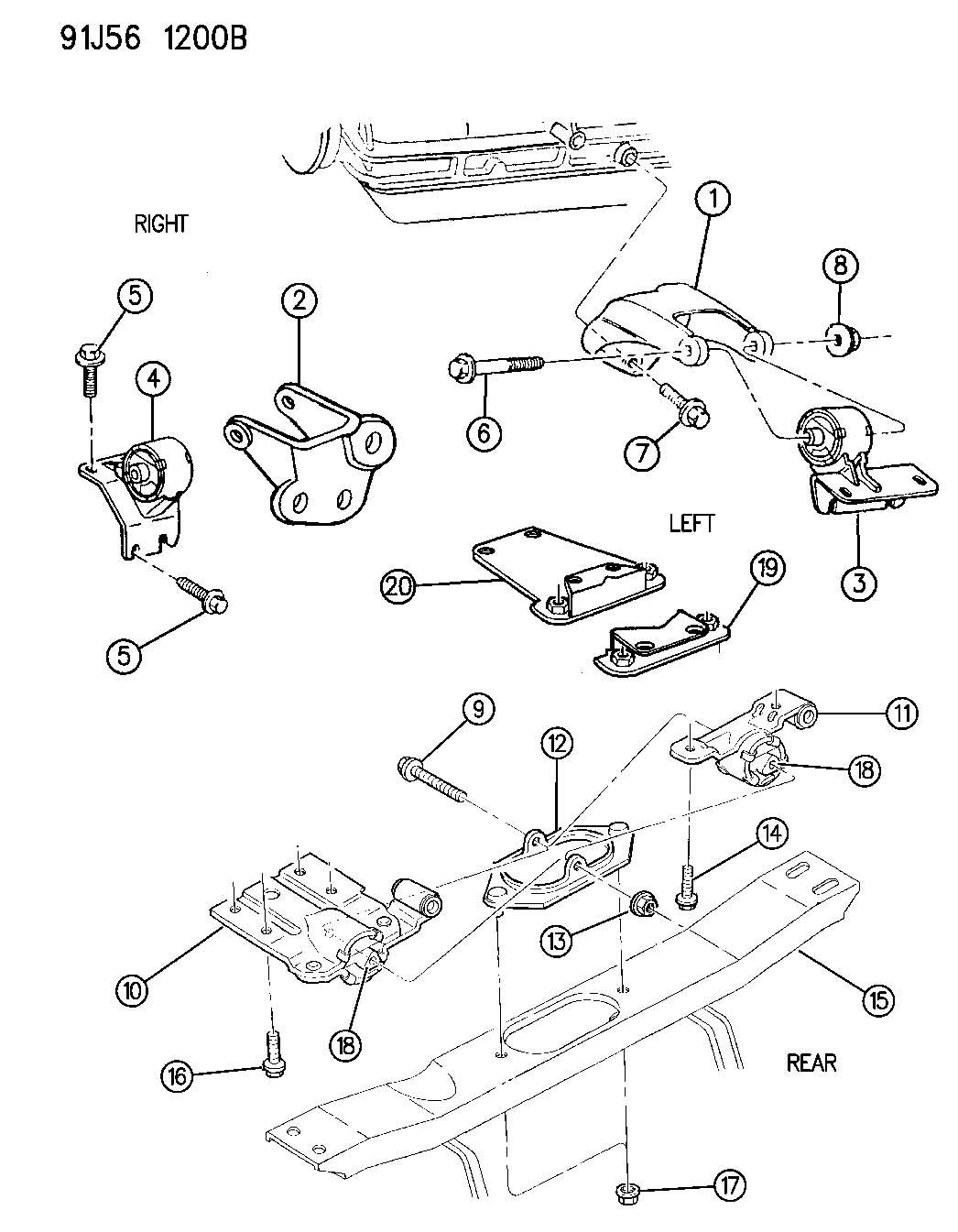 1996 Jeep Grand Cherokee Insulator. Left. Engine mount ...