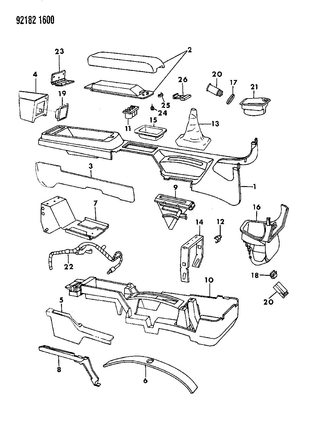 dodge ram center console parts