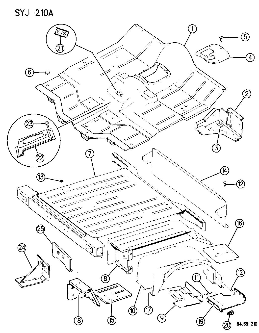 1994 jeep wrangler pan  floor front and rear wrangler  yj