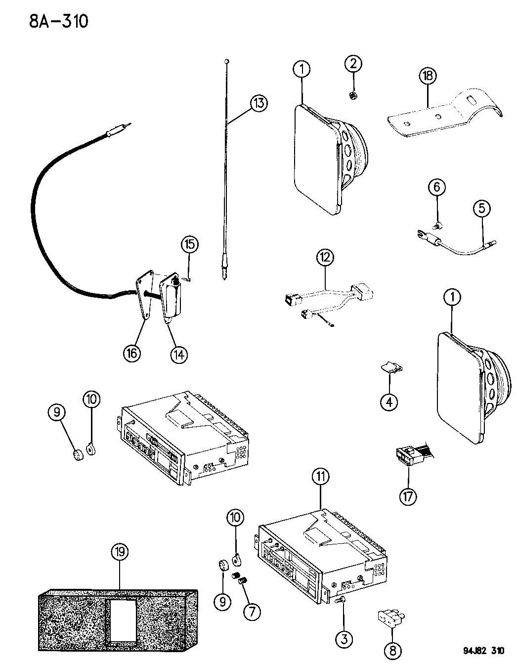 radio  antenna and speakers wrangler yj