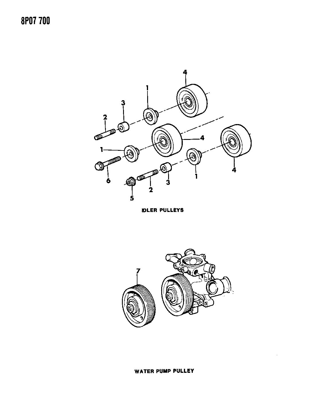 Diagram DRIVE PULLEYS 6 CYLINDER ENGINE for your Dodge