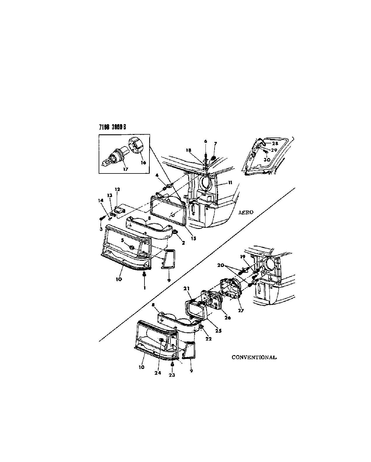 Nut and Screw Adjuster Headlamp Chrysler Dodge Plymouth 87 90 Mopar 04388249