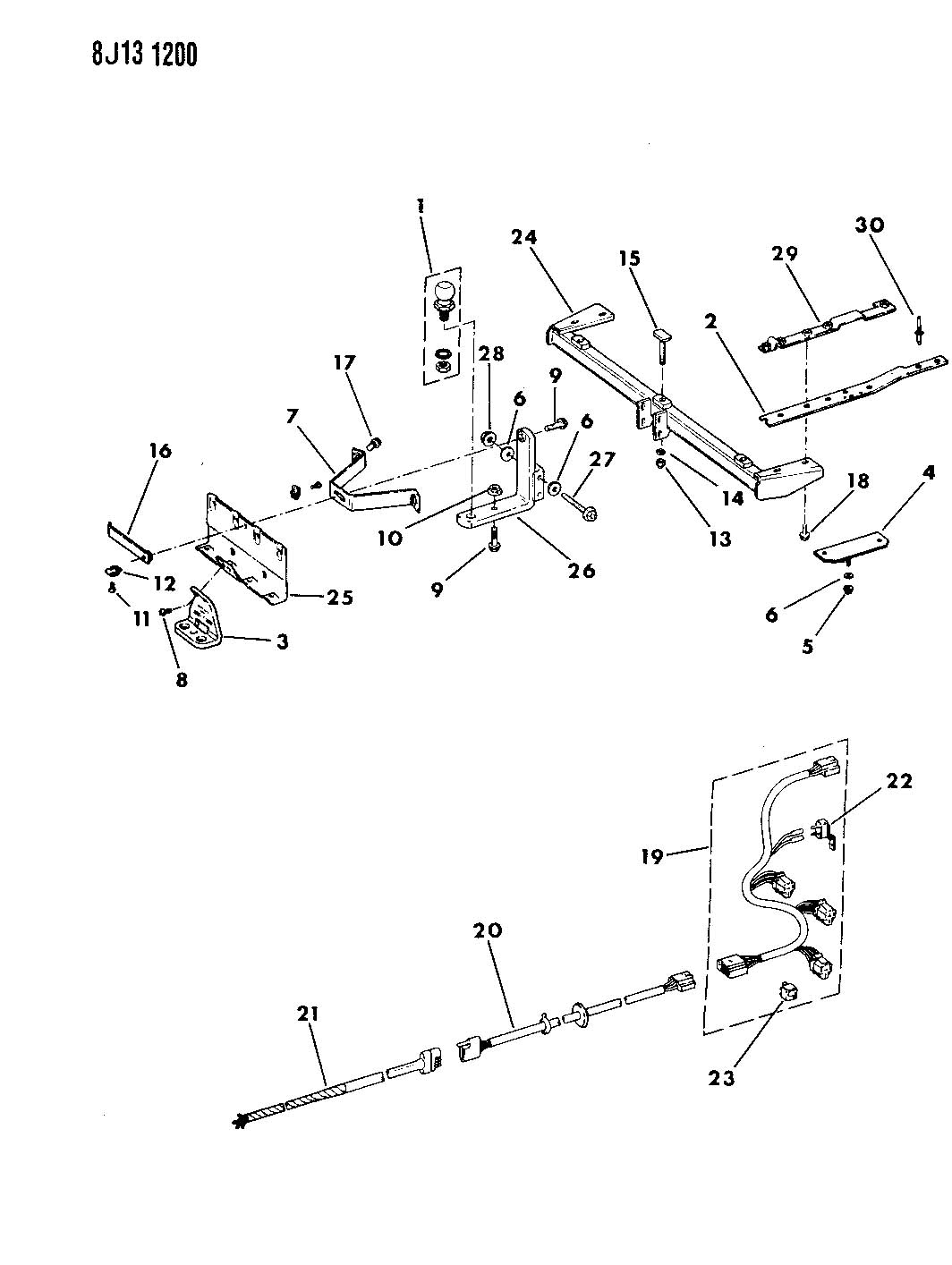 Diagram HITCH--TRAILER LIGHT DUTY CHEROKEE, WAGONEER for your 2012 Dodge Dart
