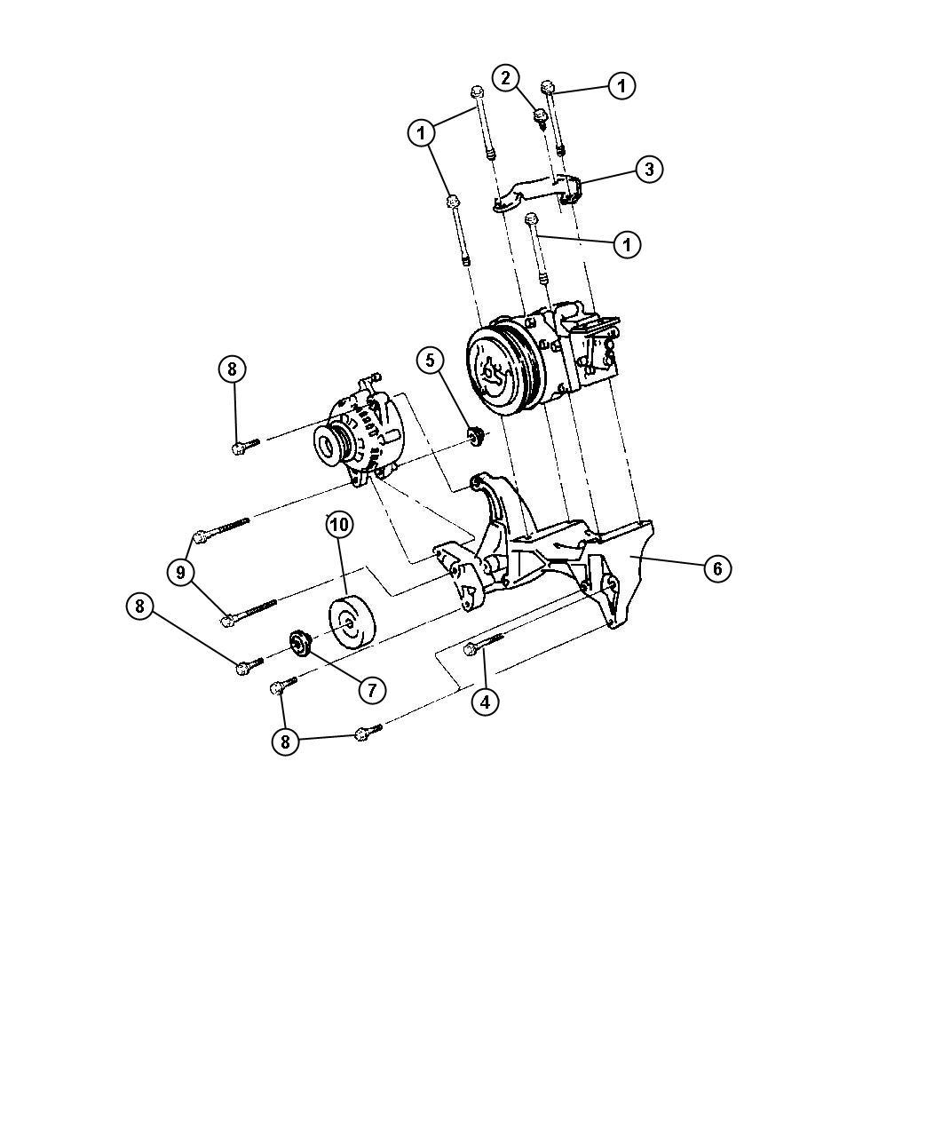 1999 dodge ram 1500 mounting compressor 3 9l 5 2l 5 9l engine