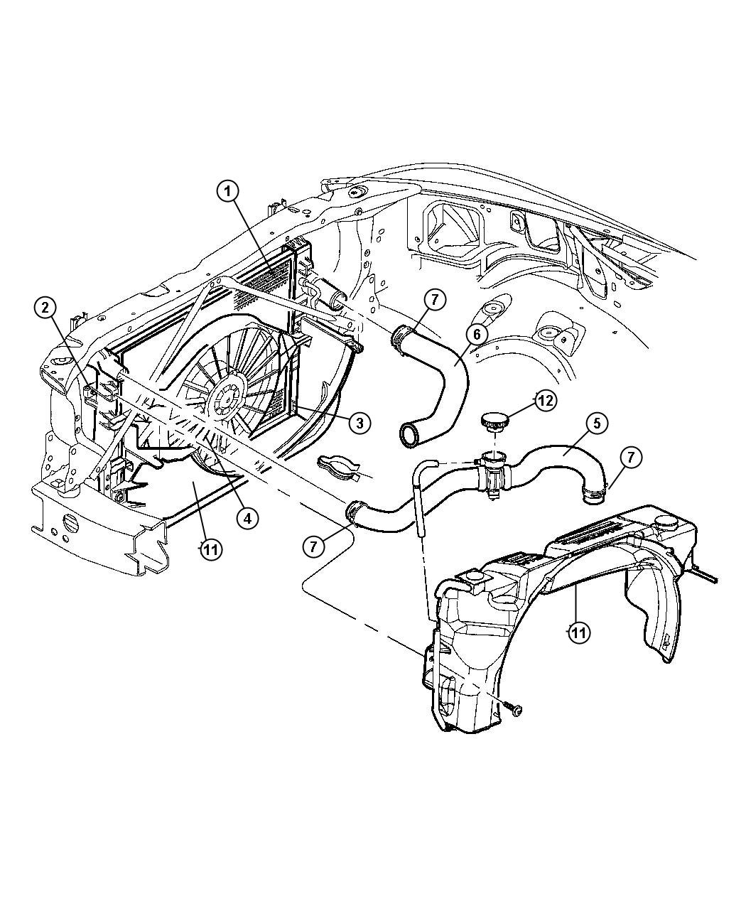 2000 dodge durango radiator and related parts  4 7l engine