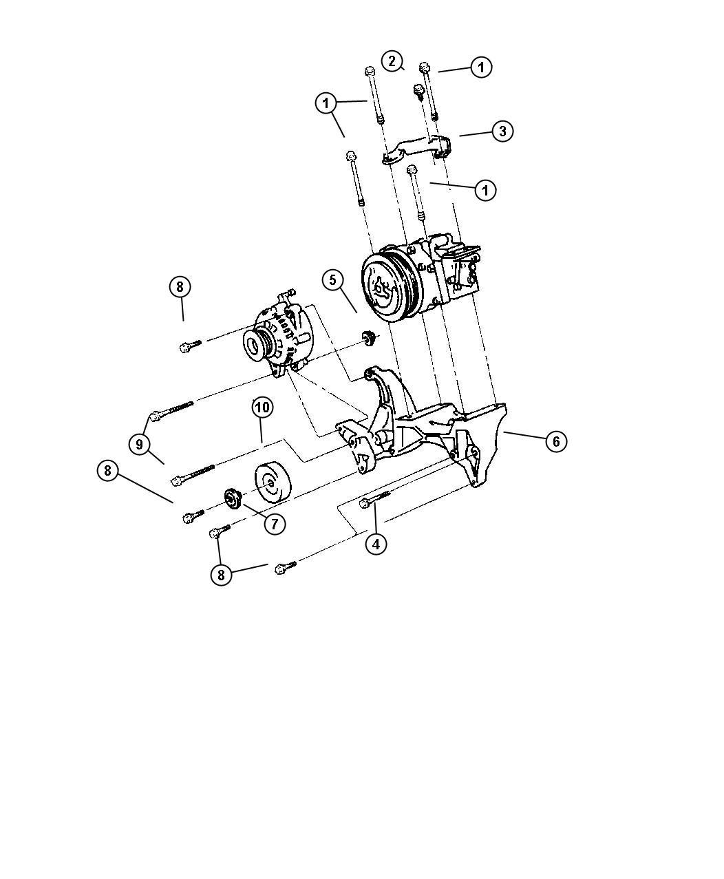 1998 dodge ram 1500 mounting compressor 5 2 5 9 engines. Black Bedroom Furniture Sets. Home Design Ideas