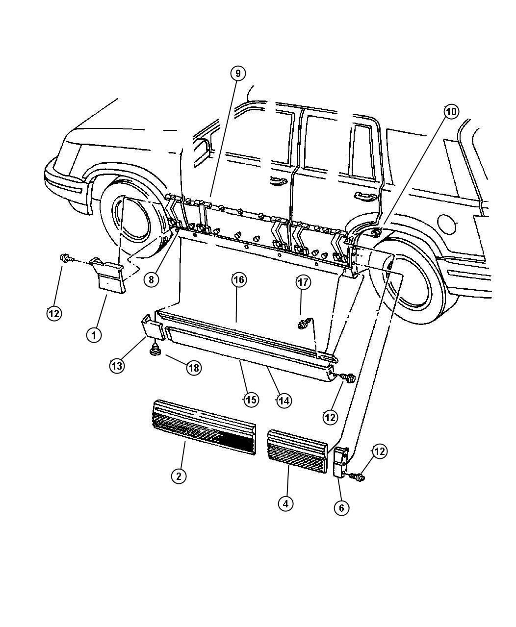 Jeep Grand Cherokee Molding  Side Sill  Right  Color   No