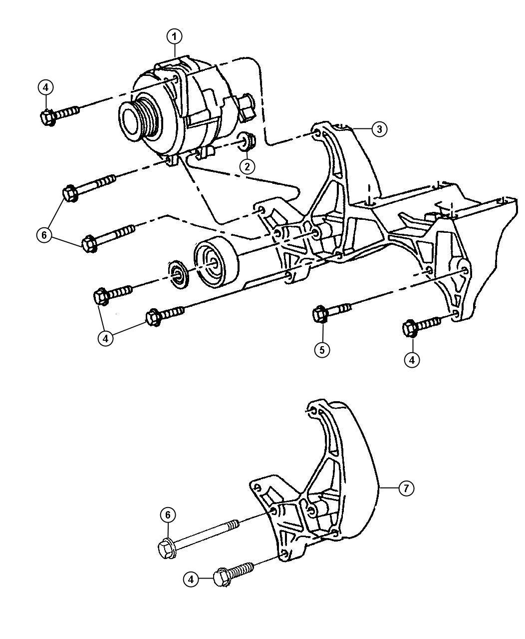 dodge ram 1500 alternator mounting 5 2l 5 9l engines