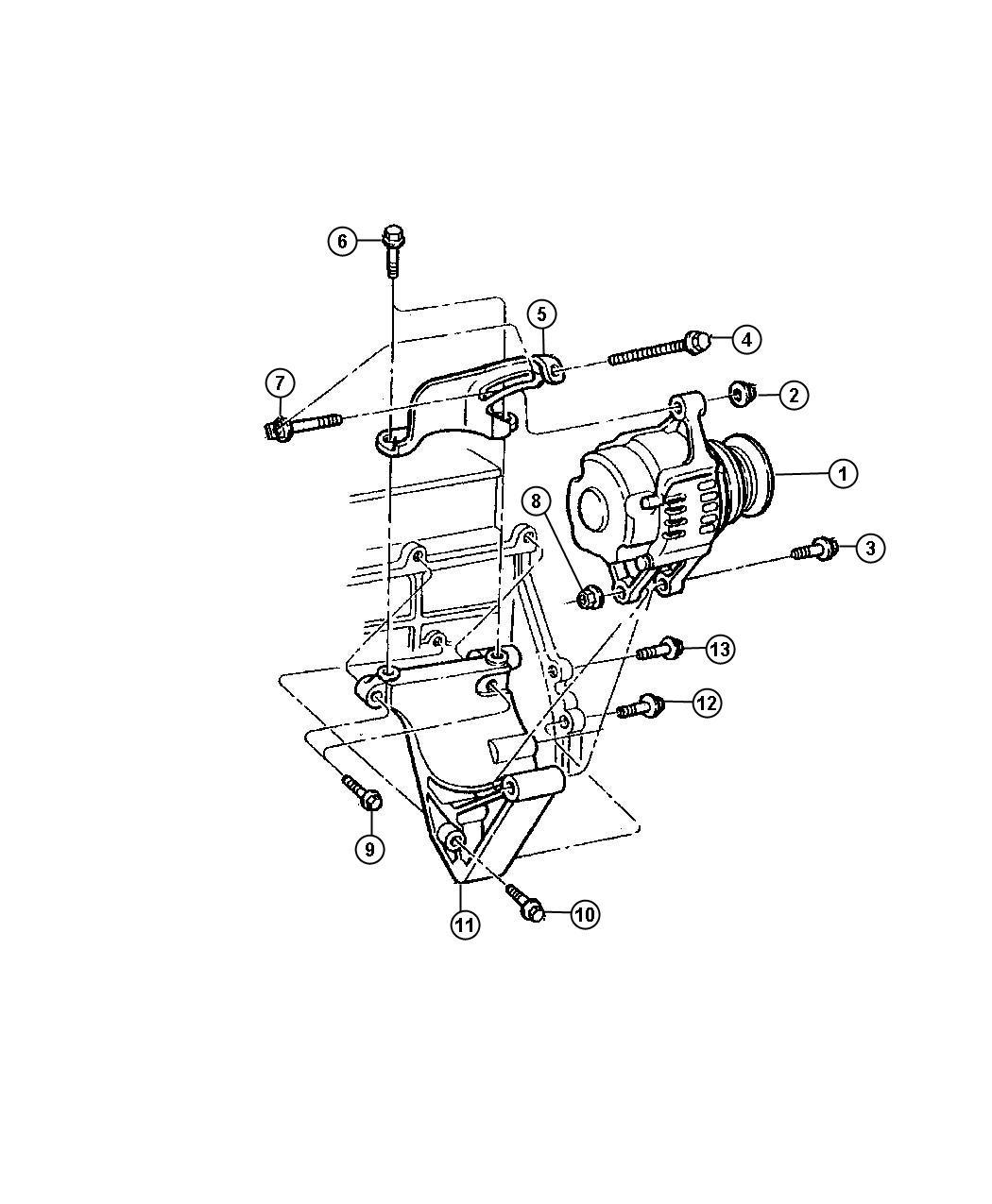 Service Manual 1996 Dodge Bolts Alternator Support
