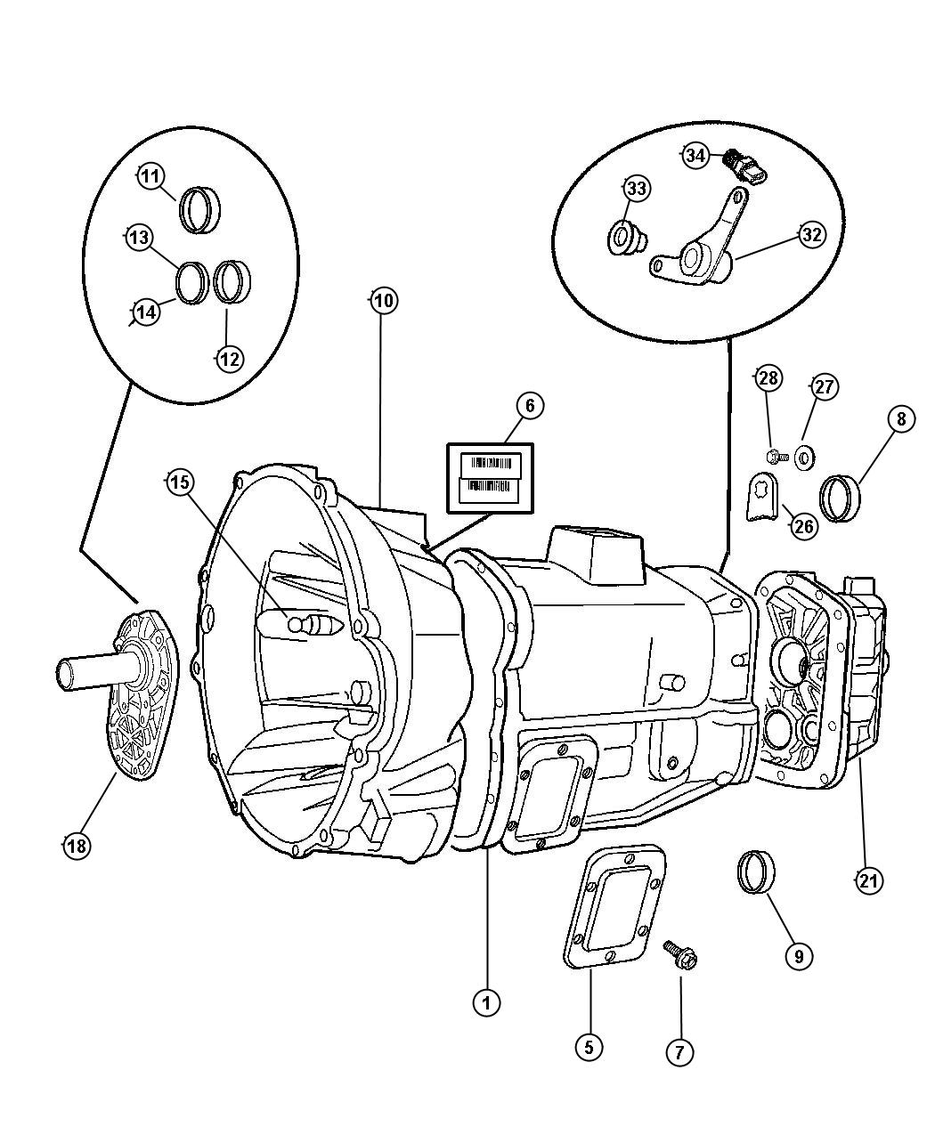 Case and Related Parts - 5600 6 Speed [6-Speed HD Manual Transmission]. Diagram