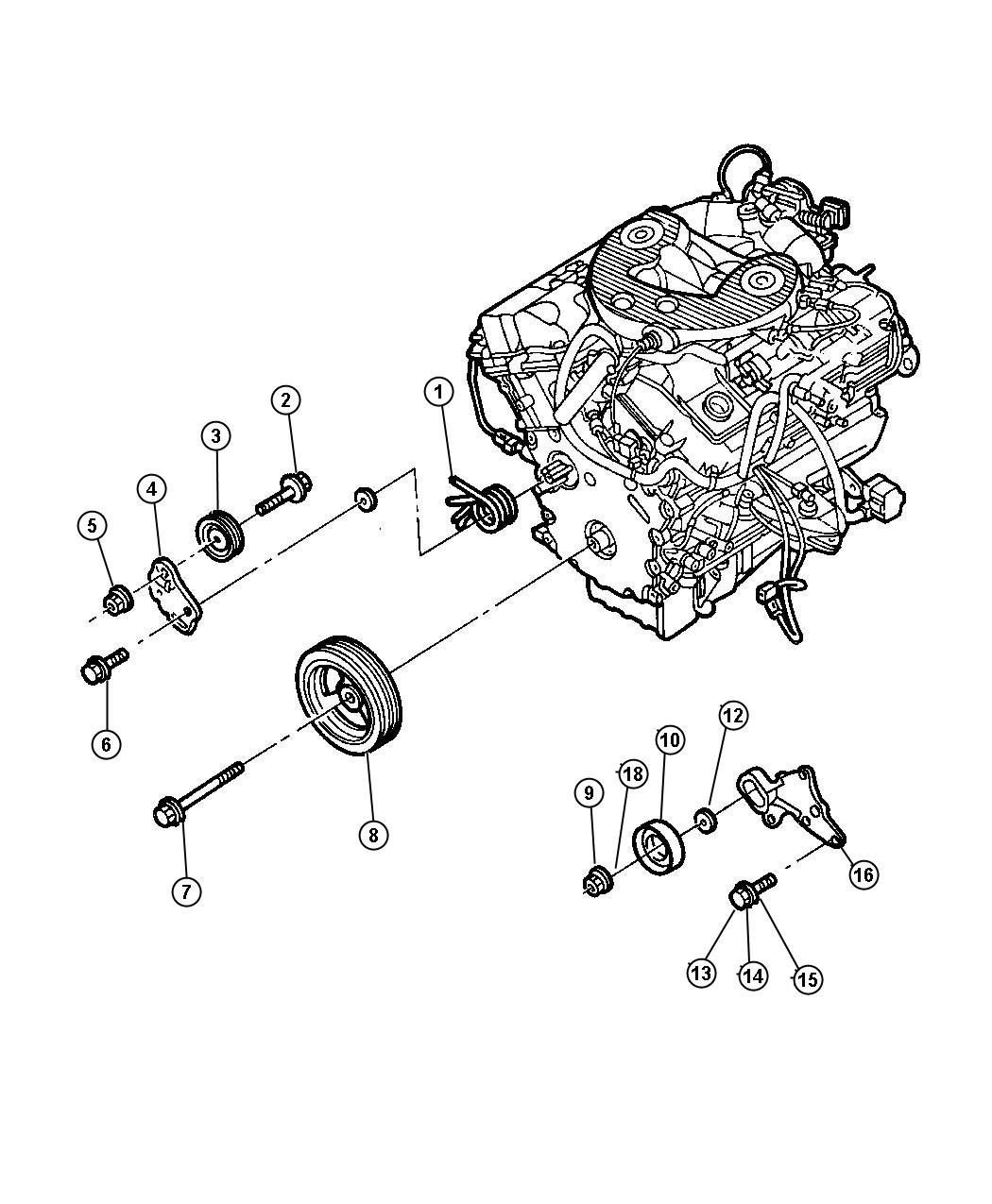 Diagram Drive Pulleys 2.7L Engine. for your Dodge