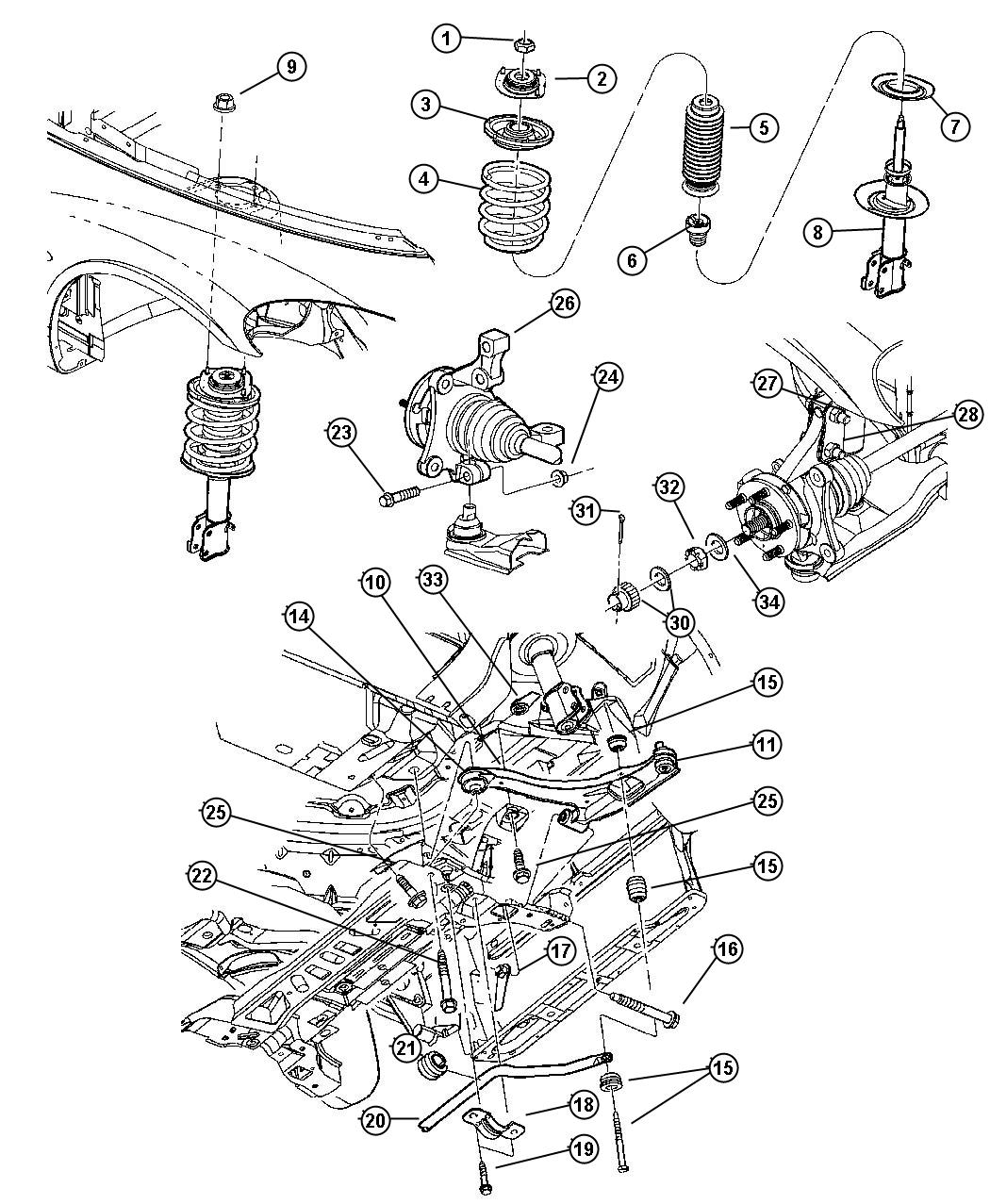 chrysler pt cruiser front suspension diagram