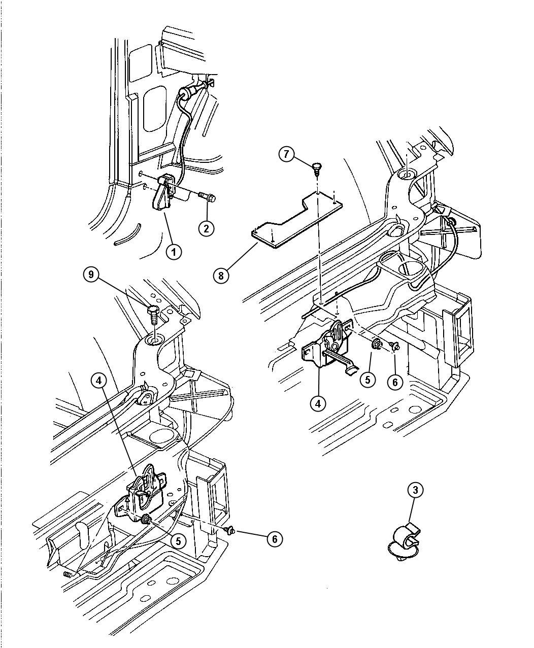 2002 dodge ram hood latch diagram