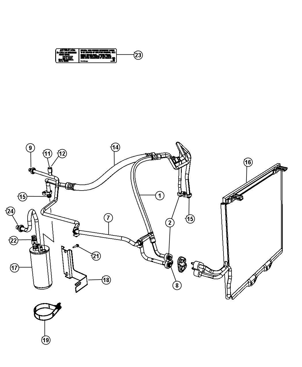2002 Jeep Wrangler Line  A  C Discharge  Compressor To