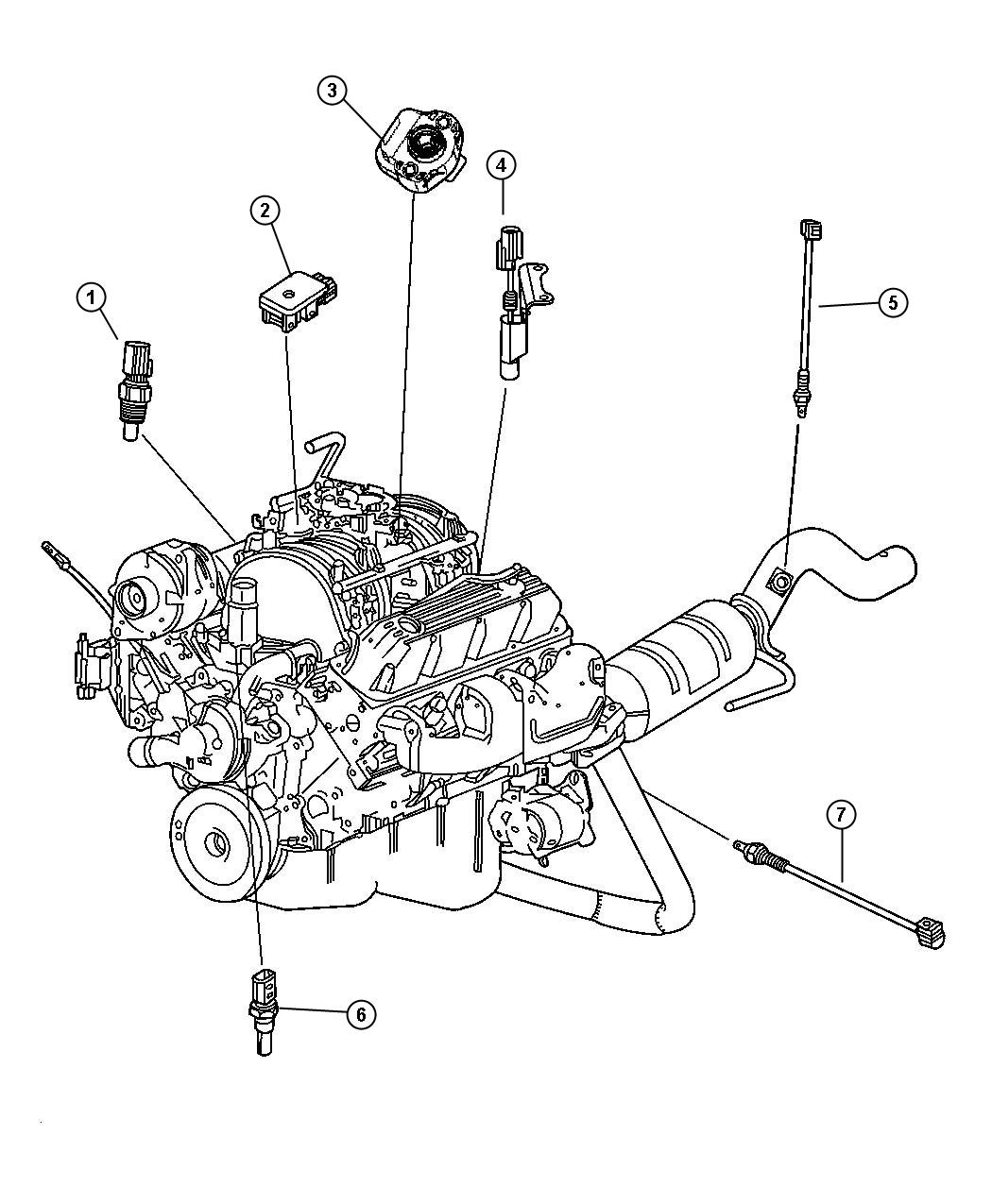 2001 dodge ram 1500 sensors engine 5 2l 5 9l