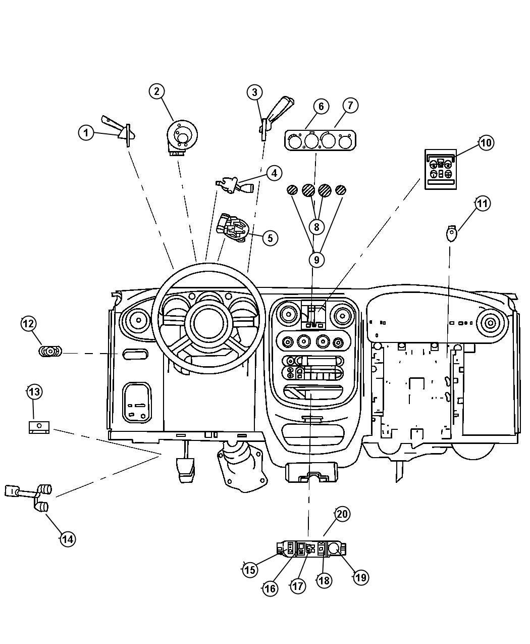 Chrysler pt cruiser.  Кнопка, кондиционер управление, переключатель и гнездо, мощность окно, 5 gang.