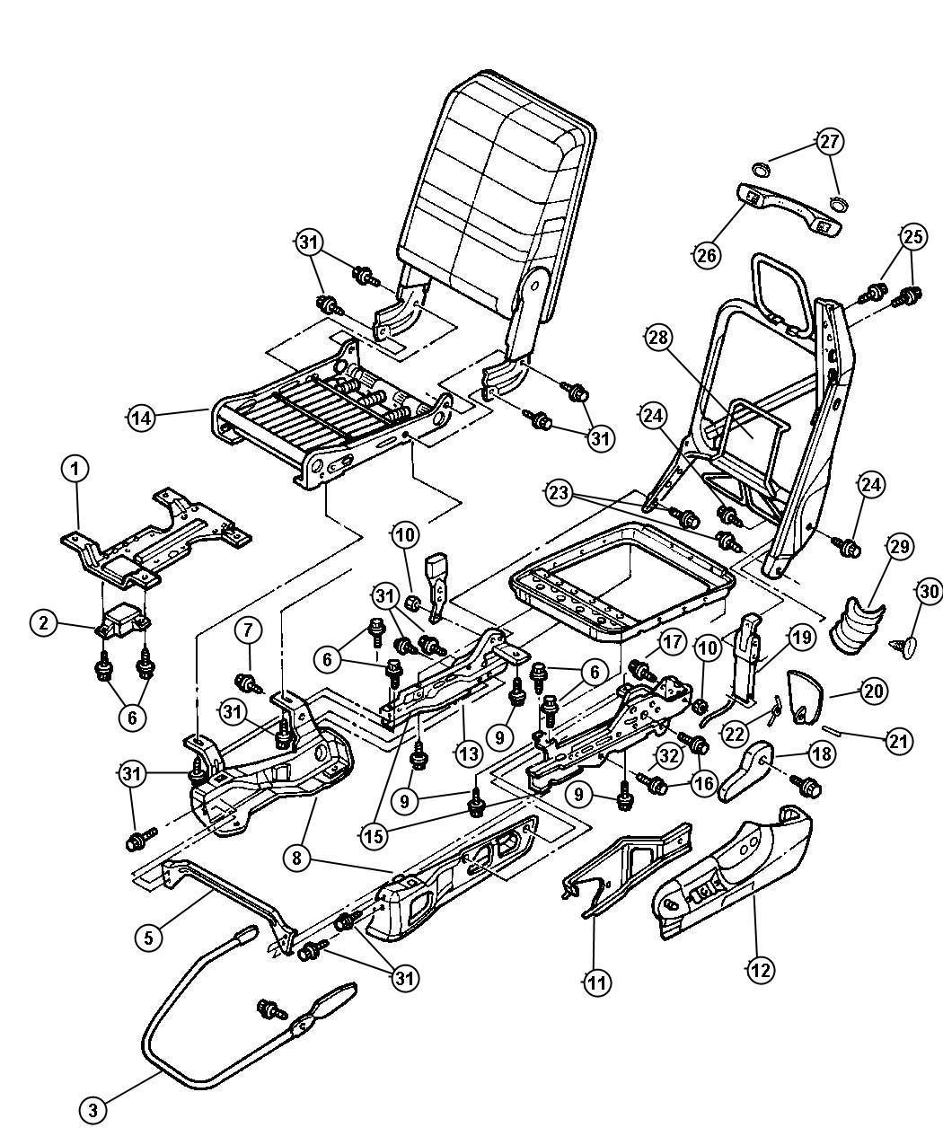 2000 Dodge Ram 2500 Shield  Driver  Seat Cushion  Manual