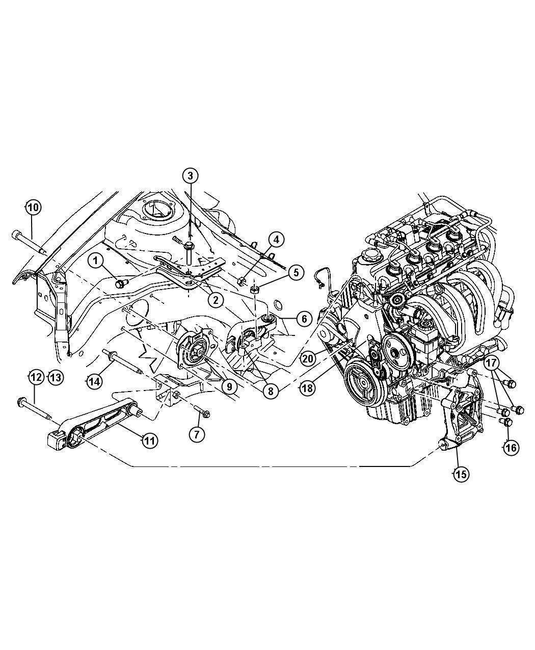 04668364AE  Chrysler Tensioner and bracket Engine mount