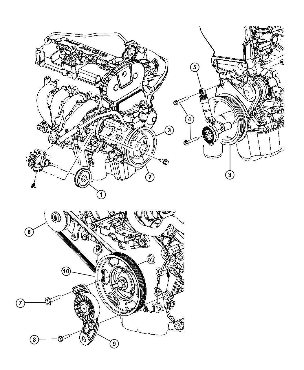 2004 chrysler sebring bracket  alternator adjusting  includes pulley  ees  eereee