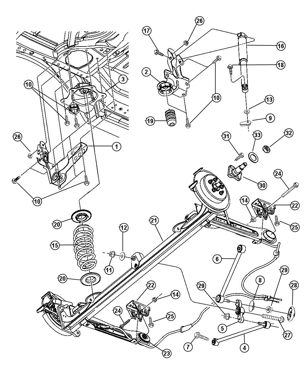 2001 pt cruiser rear suspension diagram