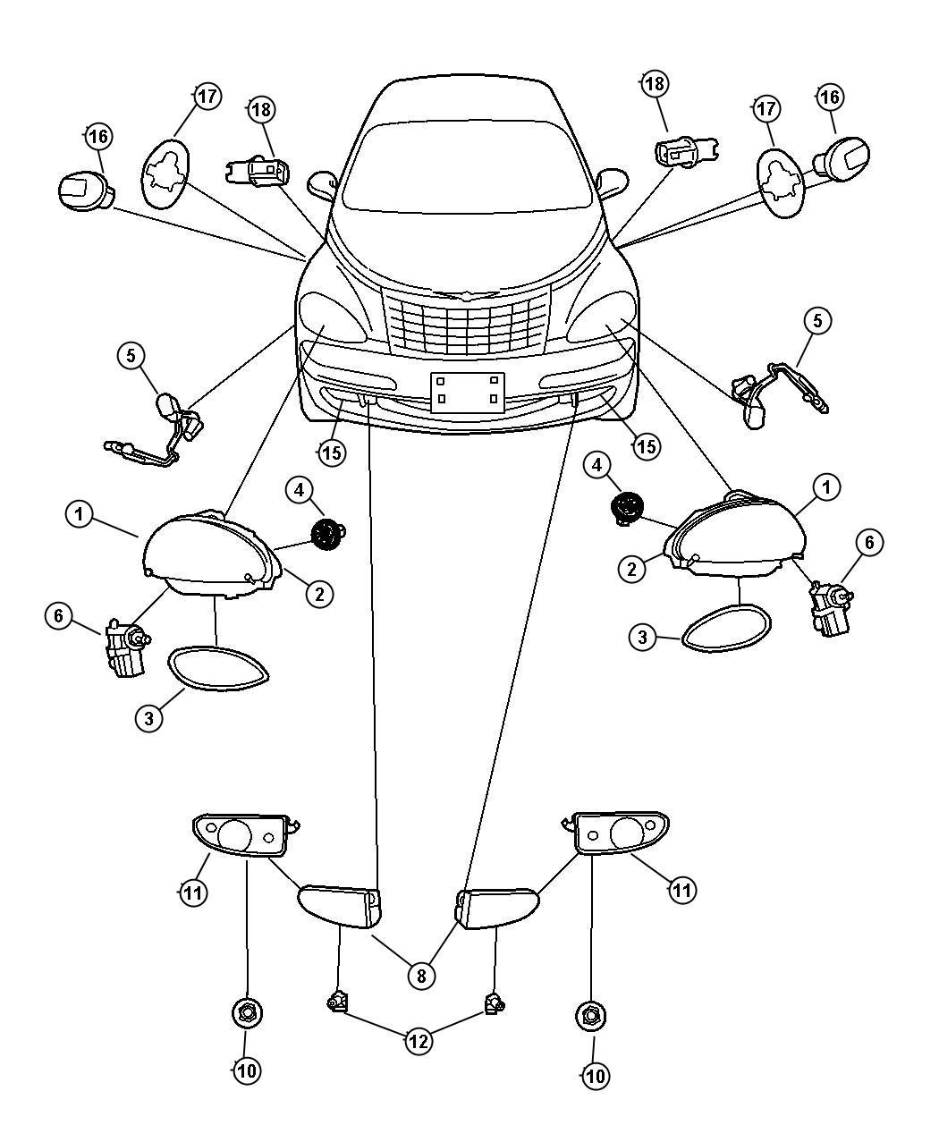 2004 Chrysler Pt Cruiser Module  Headlamp  Left  Right