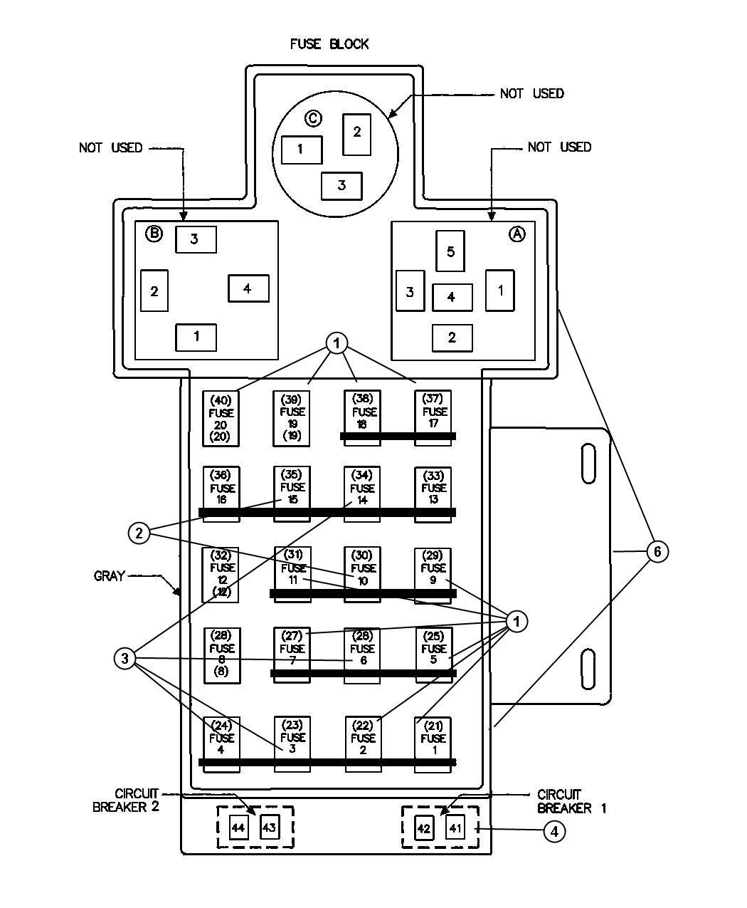 Jeep Wrangler Breaker  Circuit  20 Amp  20 Amp Fuse Base  Power Seat  Power Window