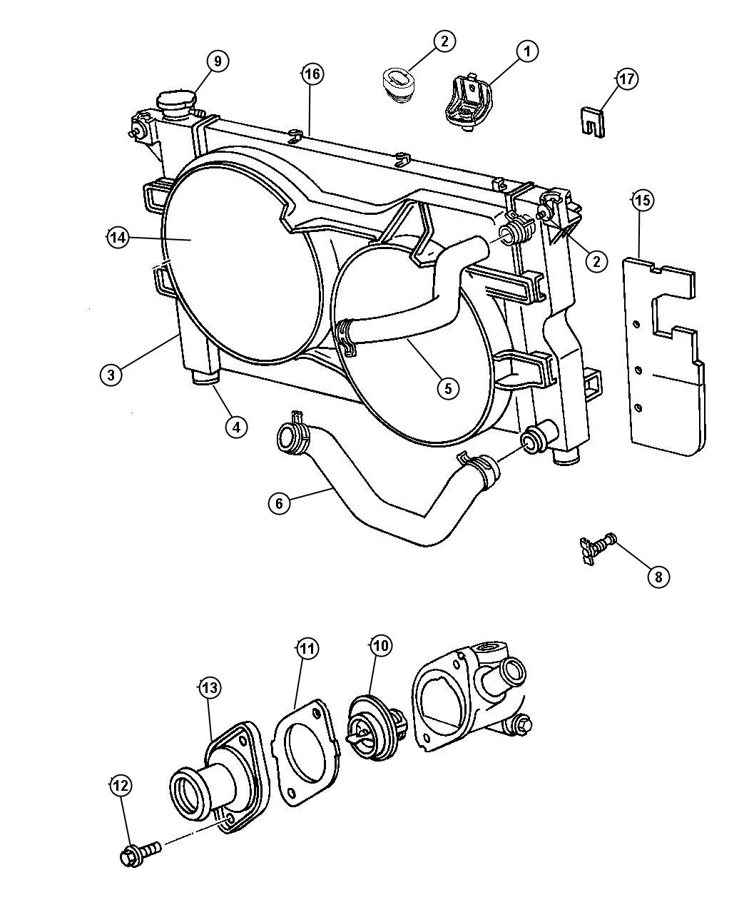 Diagram Radiator and Related Parts. for your 2018 Dodge Grand Caravan