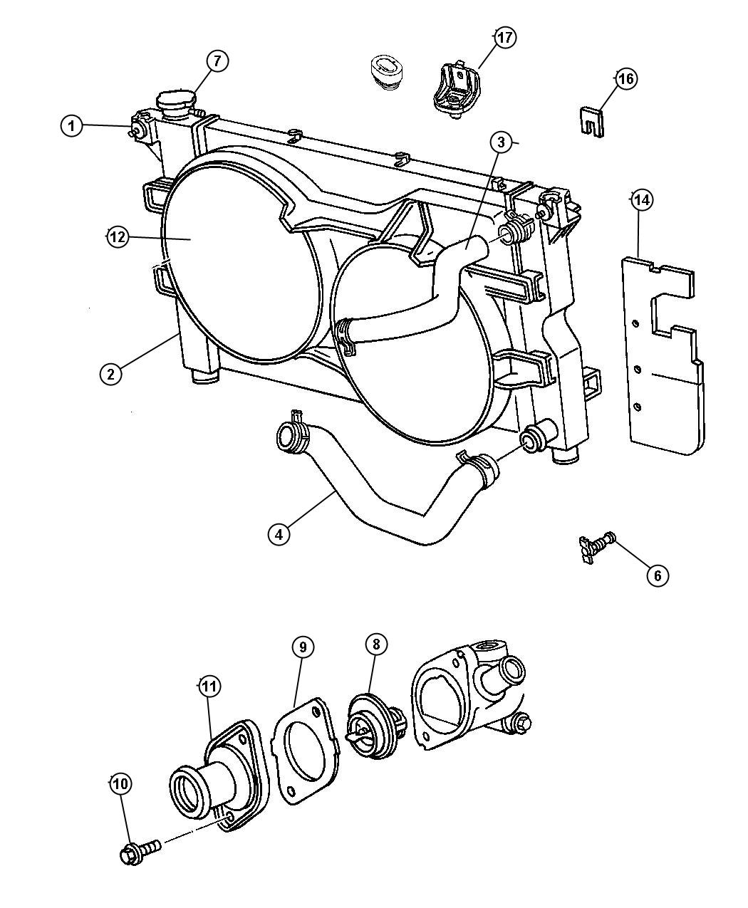 Diagram Radiator and Related Parts , 2.4L Engine. for your 2018 Dodge Grand Caravan