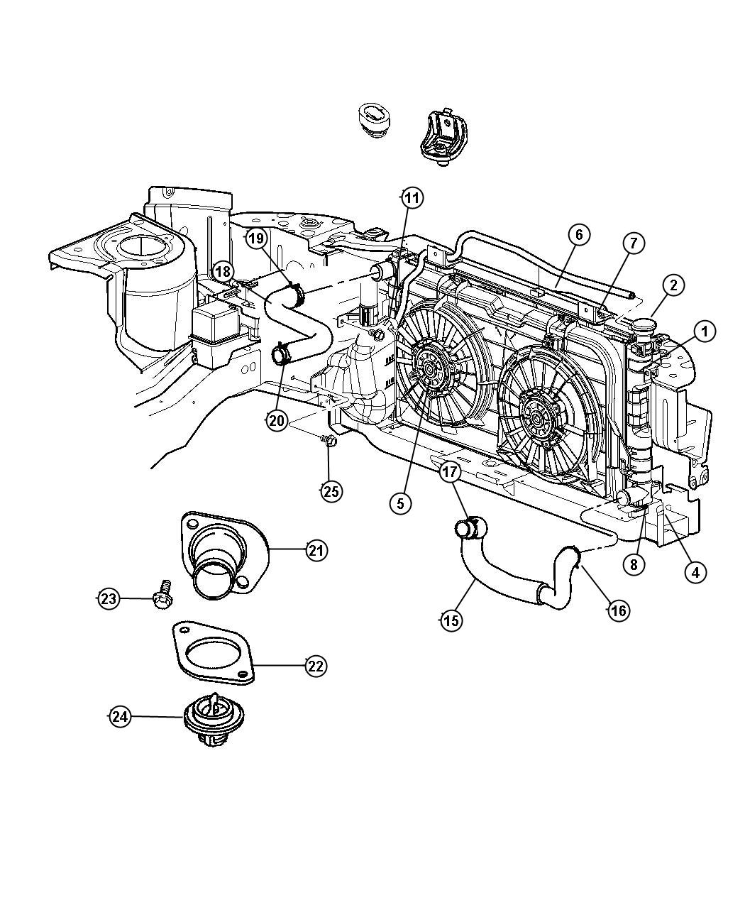 Diagram Radiator and Related Parts , 3.3L Engine. for your 2018 Dodge Grand Caravan