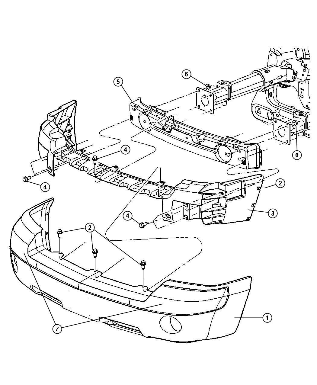 chrysler pacifica front bumper diagram