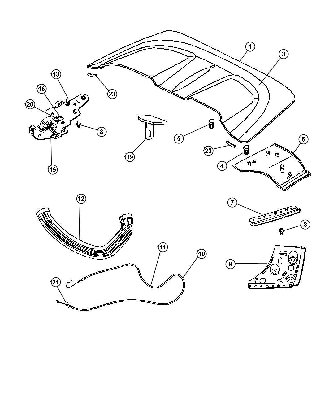 Chrysler Crossfire Cable  Tonneau Side Flap  Flaps