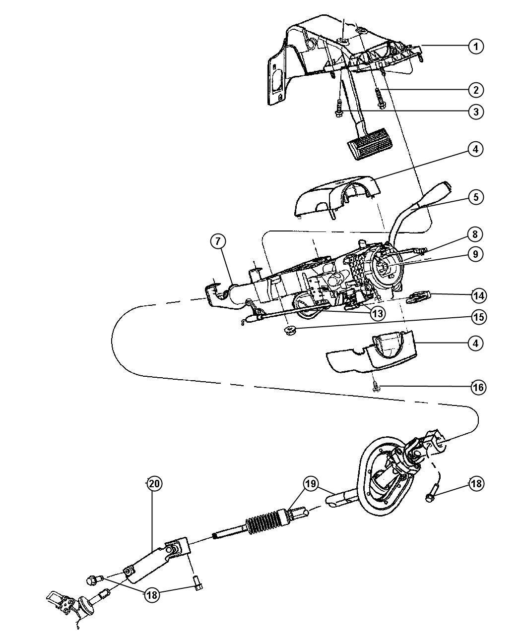 2005 dodge ram 1500 column  steering  tilt  intermittentsteering