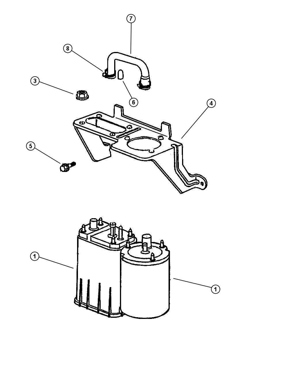 1996 Jeep Grand Cherokee Canister  Vapor  Square  Square