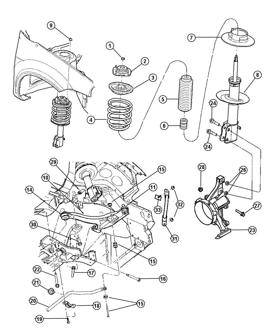 2005 dodge neon suspension front for Suspension sdb