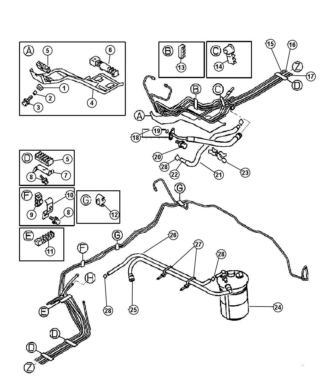 1997 Dodge Ram 2500 Collar  Fuel Line  Wreturn
