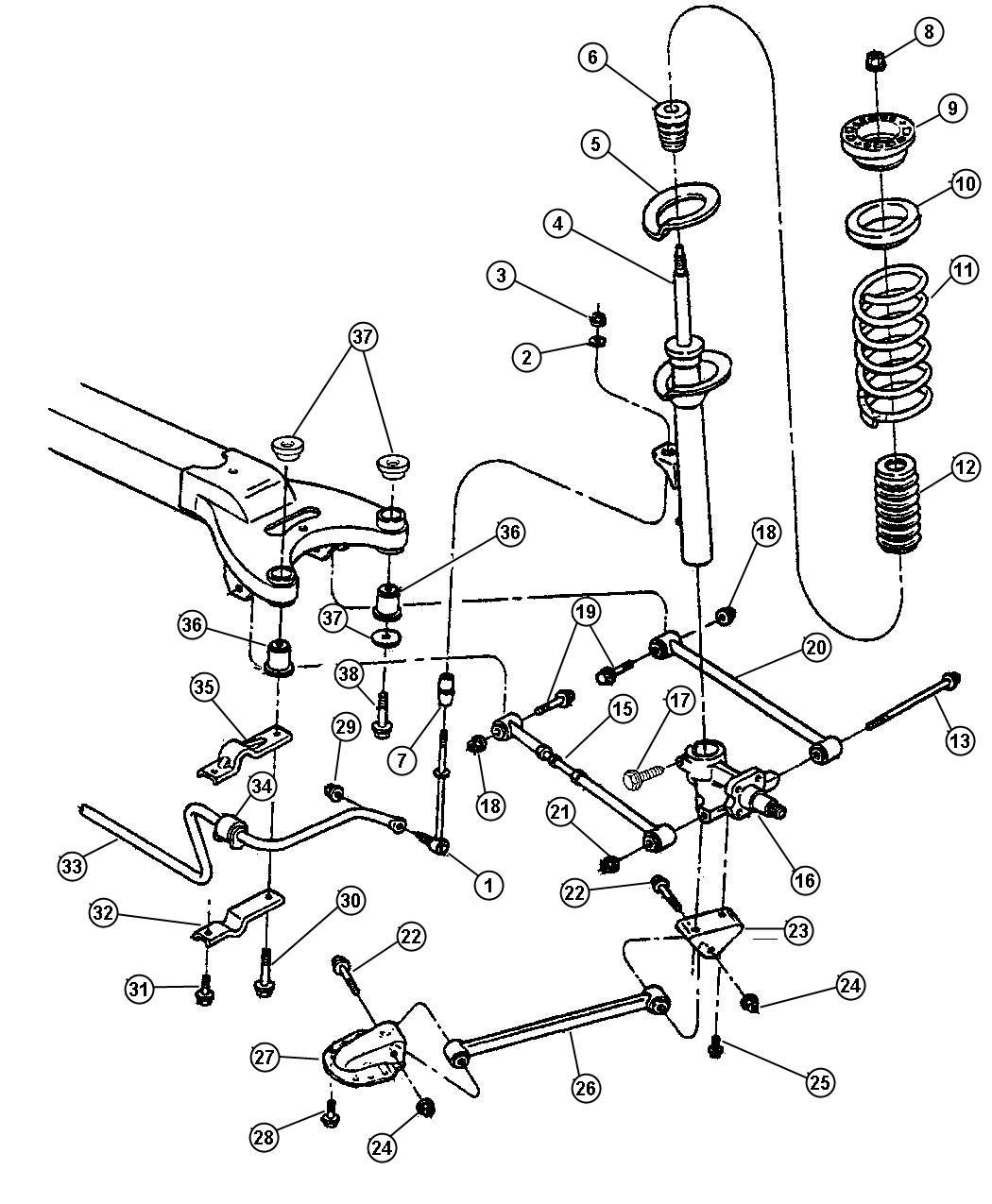 1999 dodge intrepid suspension rear for Suspension sdb