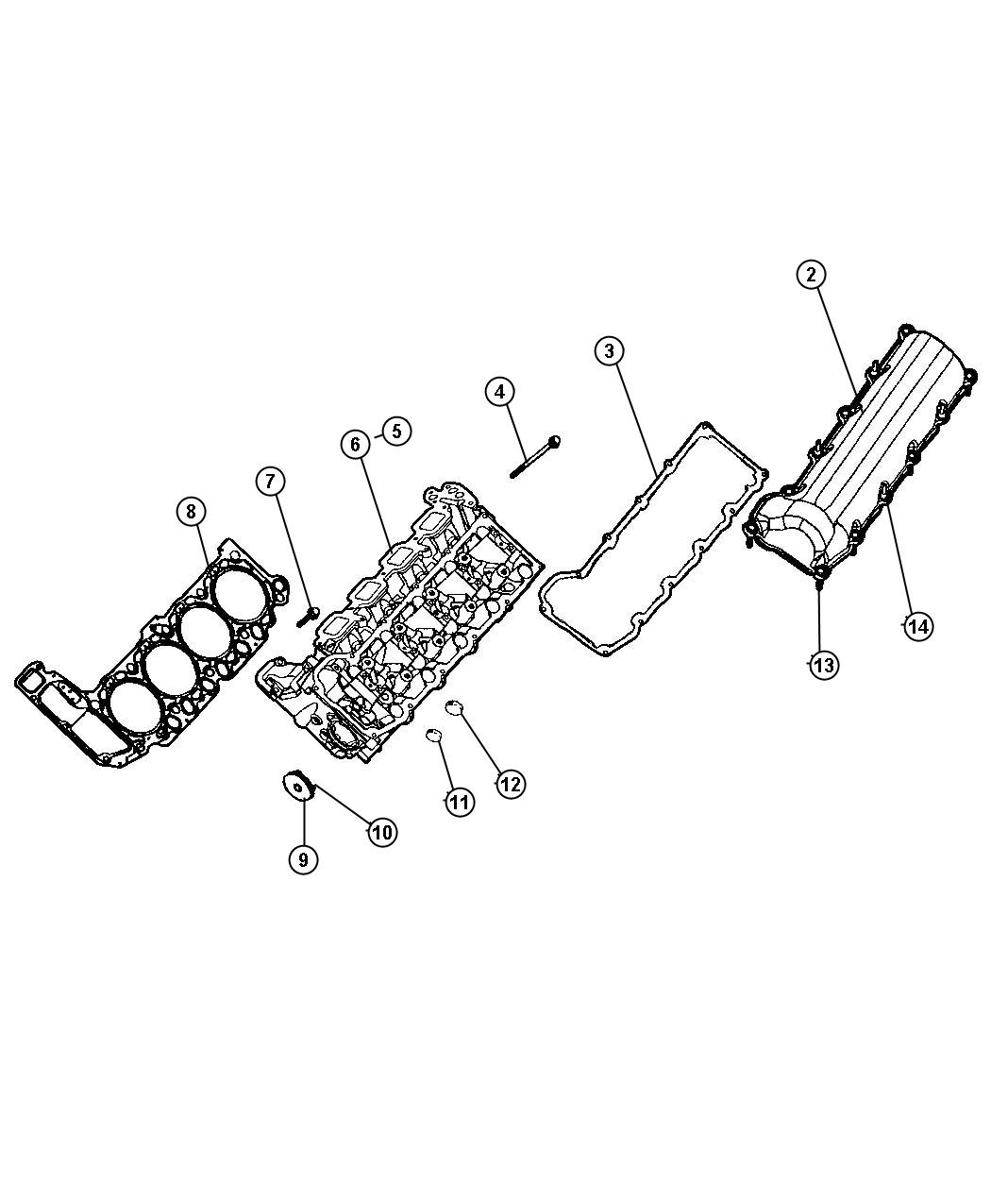Cylinder Head, 4.7L, [Engine- 4.7L V8 MPI],[Engine - 4.7L V8 FFV]. Diagram
