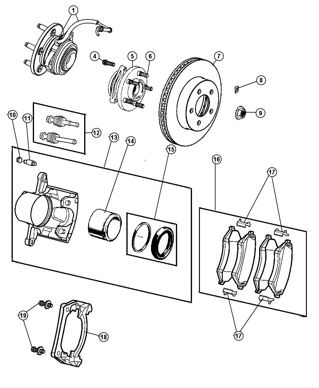 Diagram Brakes,Front. for your 2005 Jeep Liberty LIMITED EDITION 2.8L Turbo 4 Cyl Diesel A/T 4X4