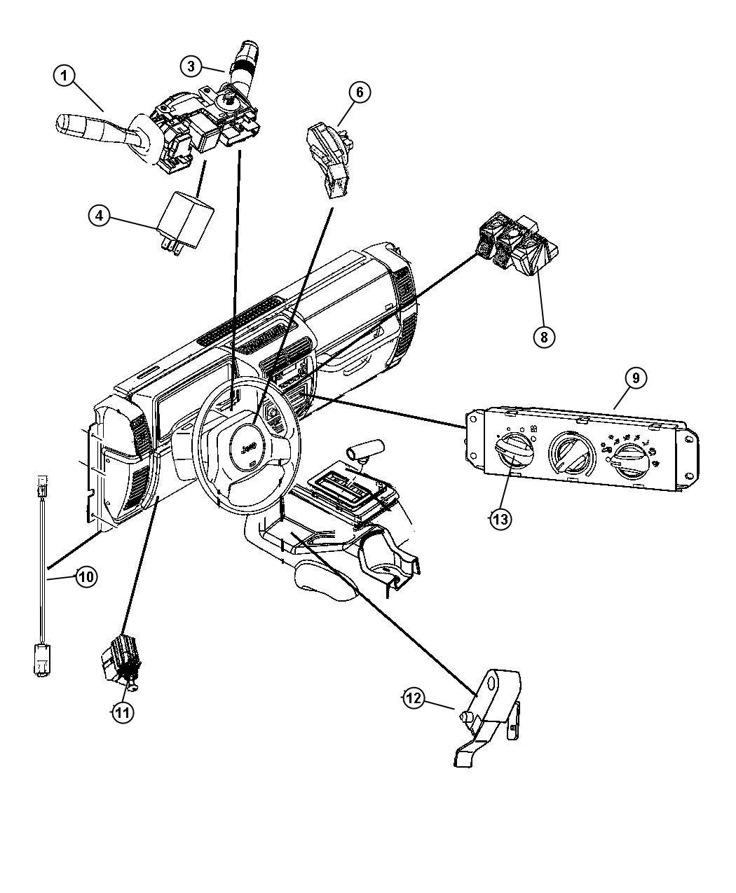 jeep wrangler flasher  hazard flasher  hazard warning  black  after 12-11-97