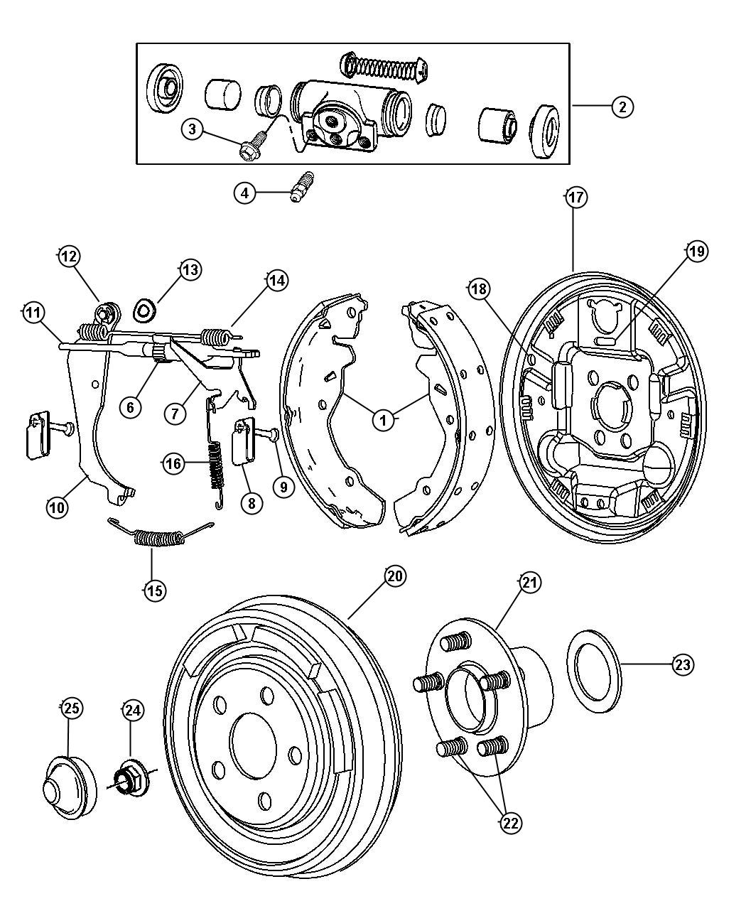 dodge neon drum brake diagram