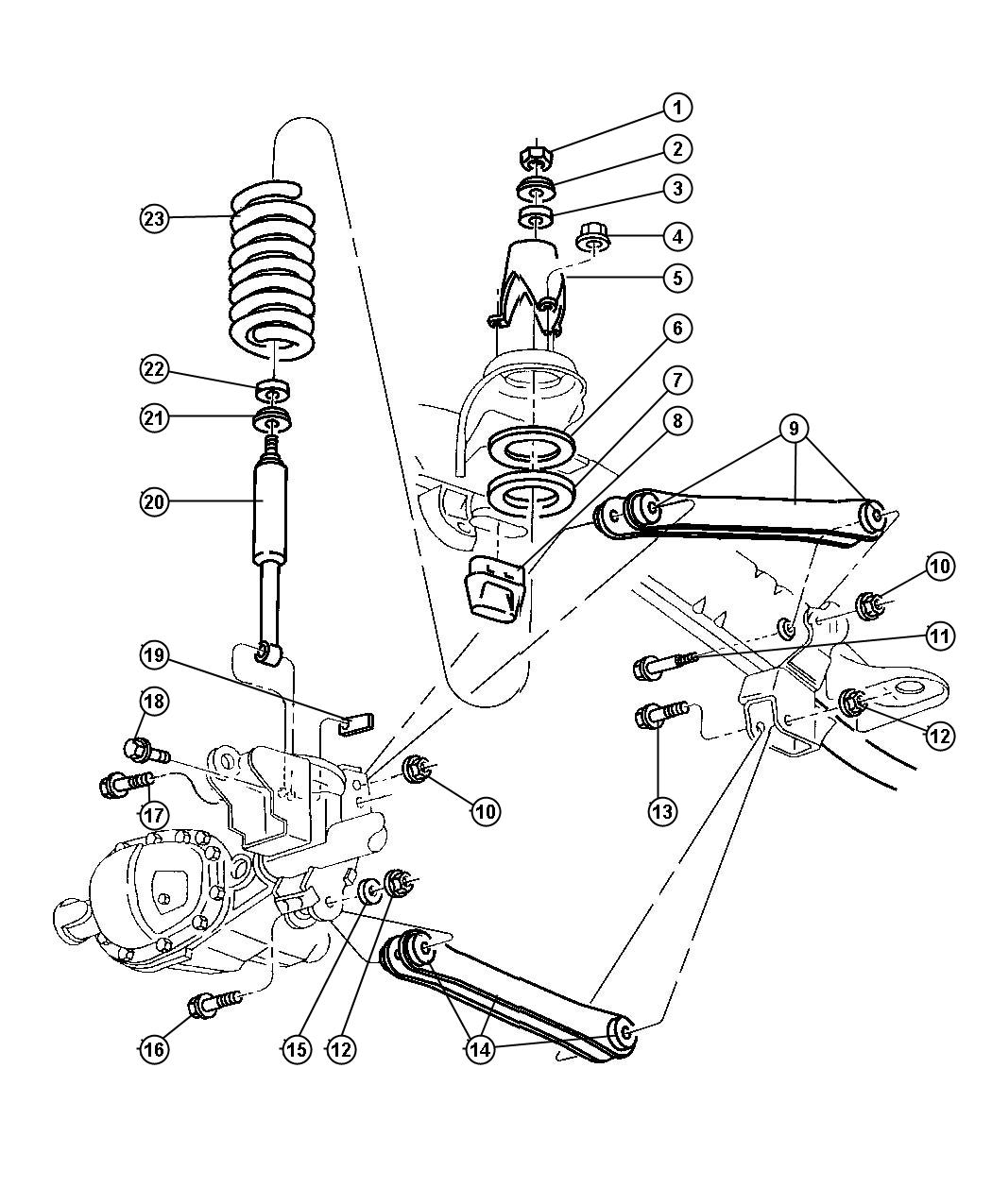 2003 dodge neon rear suspension diagram