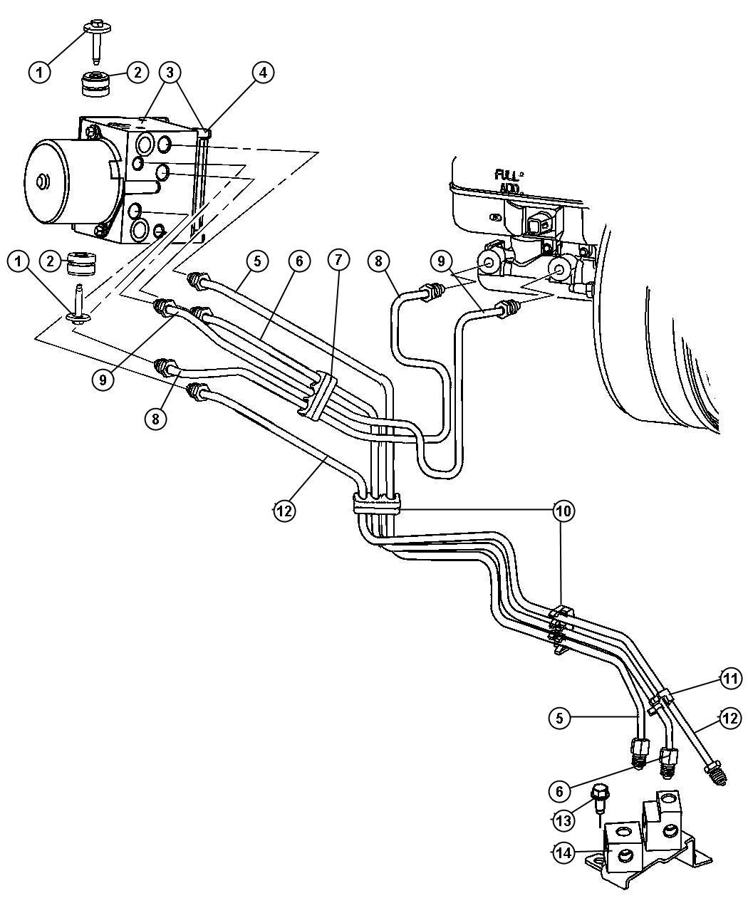 Dodge Factory Brake Lines : Dodge dakota lines brake from ehcu bgk to frame