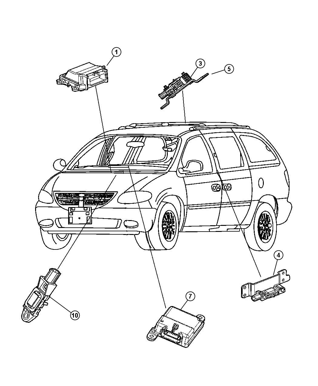 Diagram Air Bag Modules and Sensors. for your Dodge Journey
