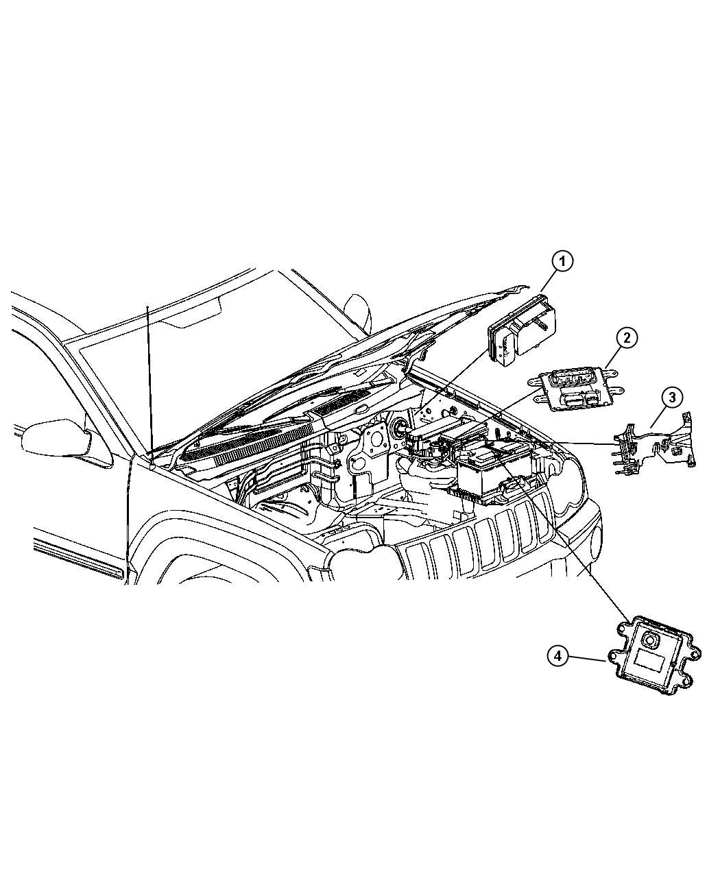 jeep grand cherokee module  front control  after 01  09  06  up to 01  09  06
