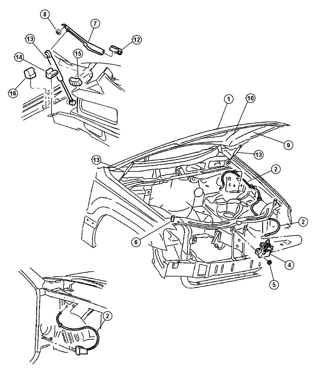 dodge ram hood latch diagram