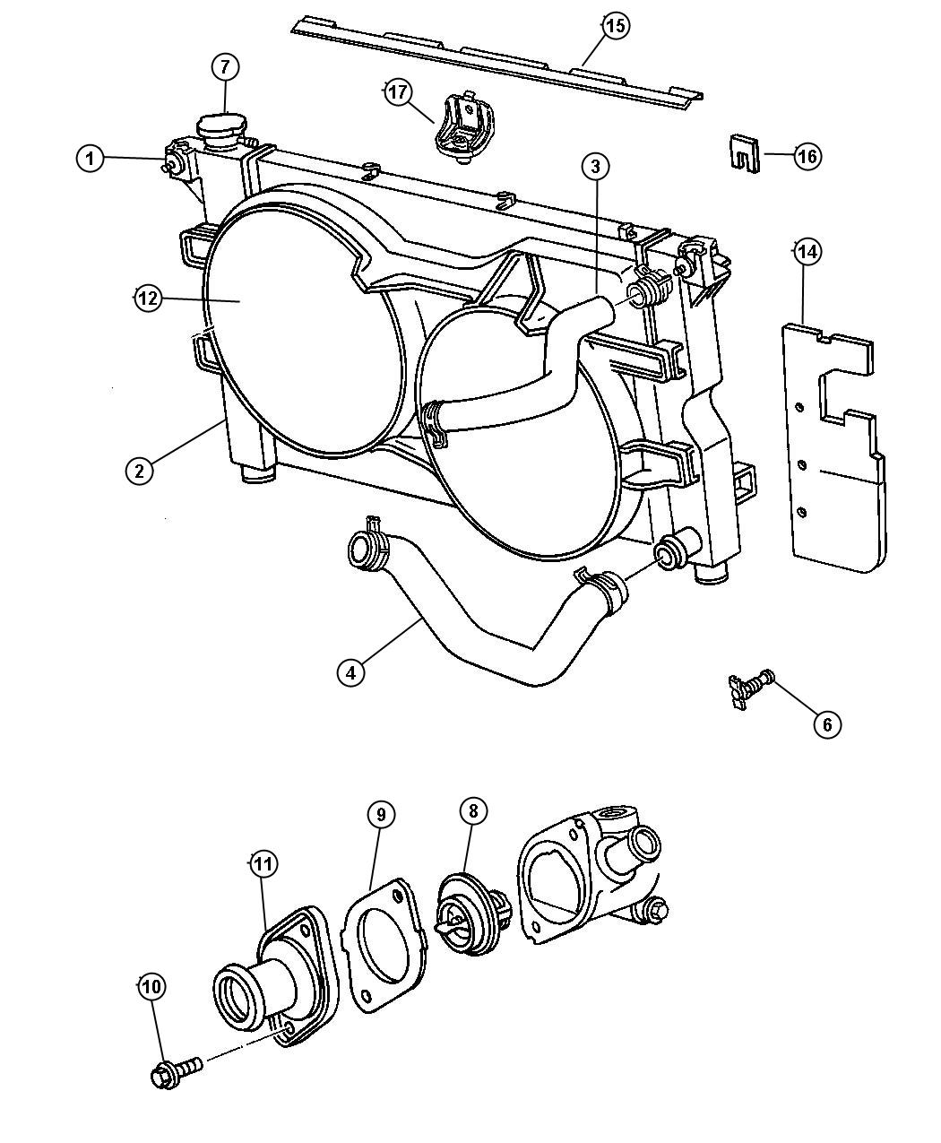 Diagram Radiator and Related Parts 2.4L [2.4L 4 Cyl DOHC 16V SMPI Engine]. for your 2018 Dodge Grand Caravan