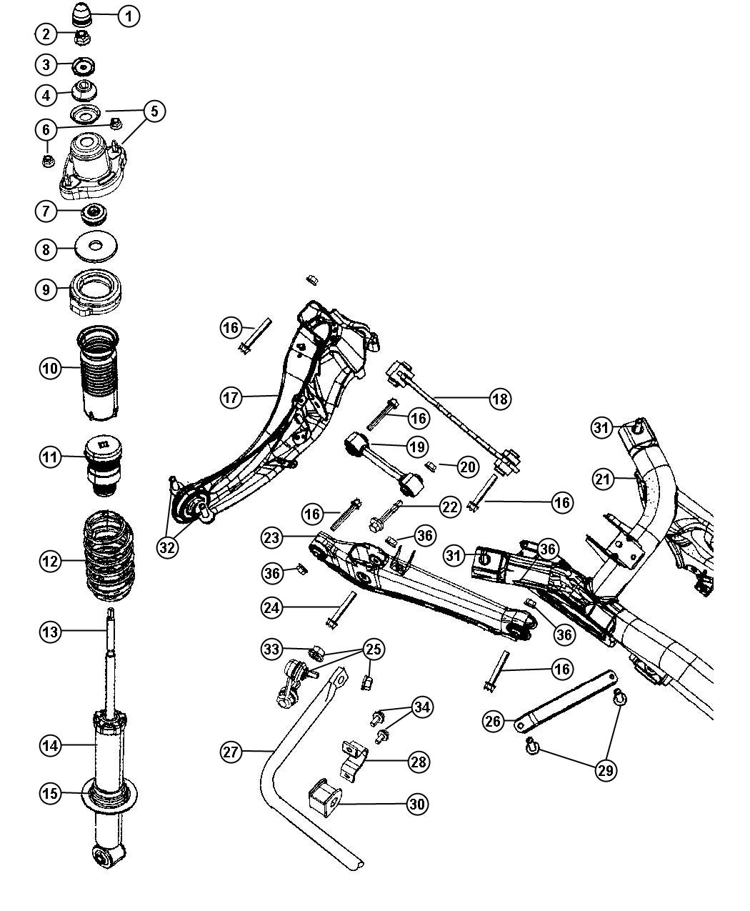 2007 Dodge Caliber Crossmember  Rear Suspension